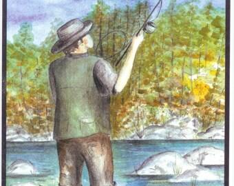 Fisherman fly fishing stream fish watercolor print card (Item -MBD1)