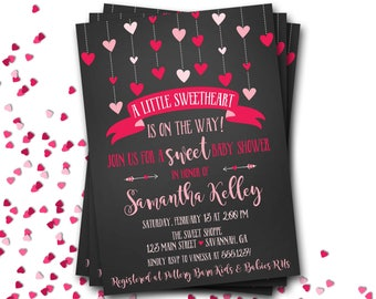Valentines Baby Shower Invitation, Hearts Baby Shower Invitation, Valentine Shower, Hearts Baby Shower, Chalkboard Invitation, DIY Printable