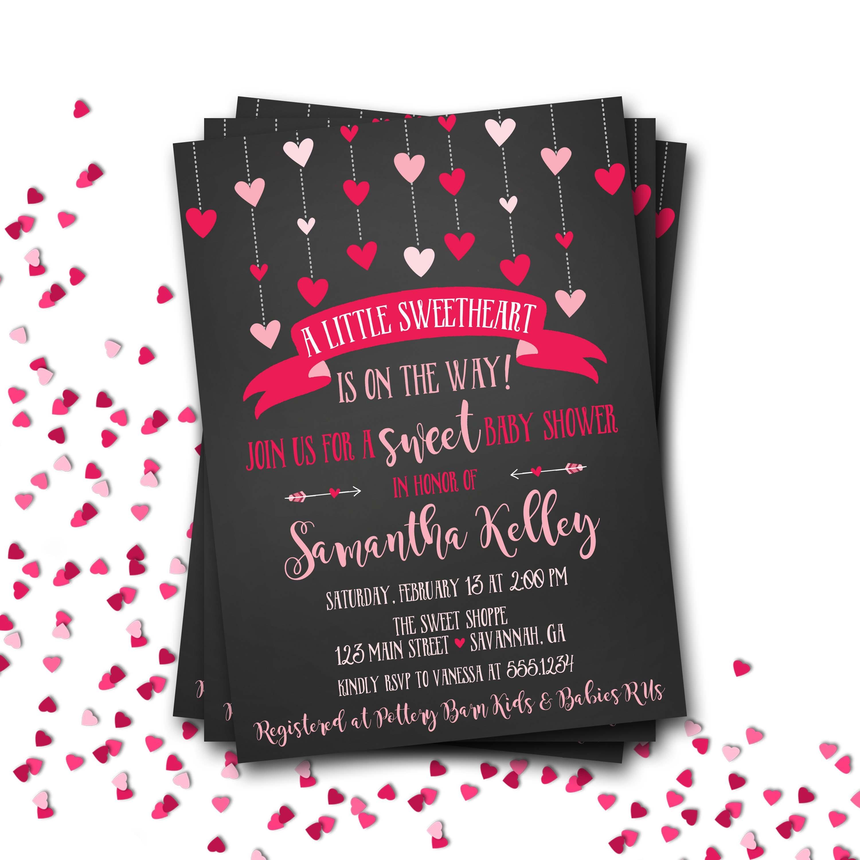 Heart Baby Shower Invitation, Valentines Baby Shower Invitation ...