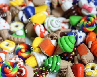 Assorted Polymer Clay Food Charms - Set of 75