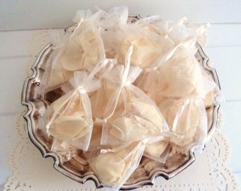 ROSE PETAL FAVORS, organza bags of  dried Rose Petals, white or colors, Petal Confetti, Wedding Favors, for fairy tale endings