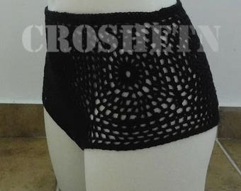 Black bikini bottom from organic cottonCrochet bikini Bikini crochet Crochet swimsuit Crochet swimwear bikini  Crochet -MADE TO ORDER 17045