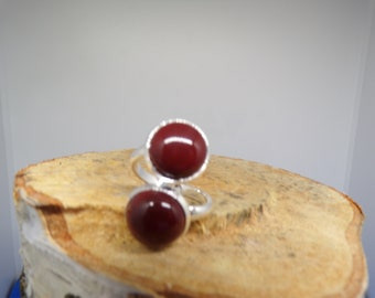 ring adjustable double cabochons 12 mm red Jasper stone