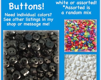 """50 or 100 Round 6mm mini doll buttons, small buttons, round buttons sewing crafts 6mm 1/4"""" 6 mm buttons, black plastic buttons 6mm round"""