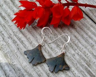 Small Ginkgo earrings, Itty Bitty Dangle earrings, Ginkgo leaf Jewelry, Ginkgo earrings, Herbal Nature lover gift, Wooden earrings