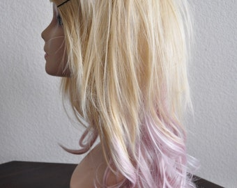 Wavy & Straight Layered Wig in Blonde and Pink