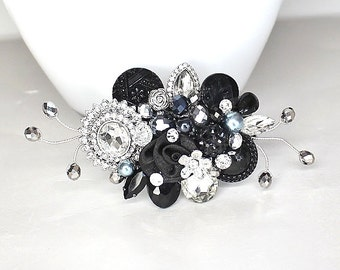 Black Bridal Comb- Black Hair Clip- Black Hair accessories- Black Hairpiece- Bridal Hair accessories-Wedding Hair Comb-Hair Accessories