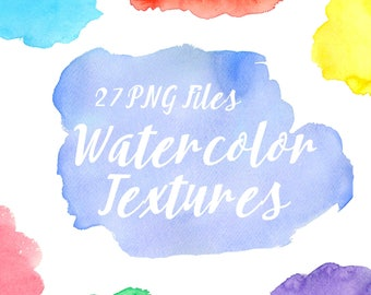 Bright Watercolor Splotches, Watercolor Clipart, Hand Painted Blob, Watercolor Backgrounds, Water color, Watercolor Textures, Png Files