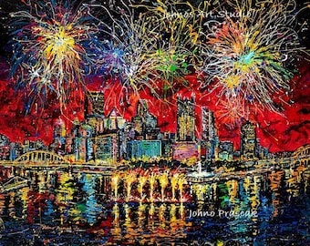 Fireworks, 4th of July, Pittsburgh fireworks, Celebrate art, Game room wall art, Man cave wall art, Johno Prascak, Johnos Art Studio