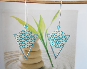Silver sequin white turquoise earrings