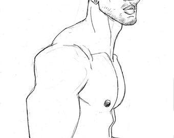 Took His Shirt Off, 11x17 original pencil drawing of muscular shirtless young man