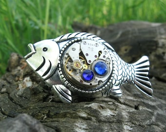 Fish brooch Steampunk Fish gift for him Fisherman gift Steampunk jewelry Mechanical Fish Pin Steampunk pin Vintage Fishing gifts