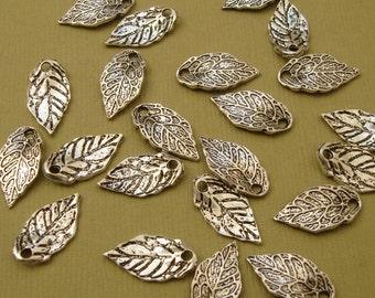 20pcs-Pendant, Charm, Leaf, Antique Silver (16x8)mm.
