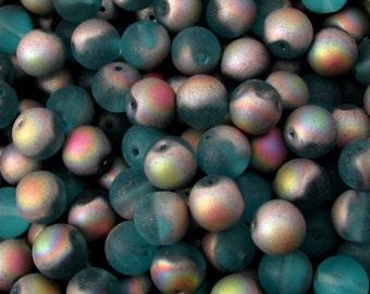 Czech Glass Round Beads, 10 mm, Matte Frosted Aqua Vitrail, 12 Pc. C519