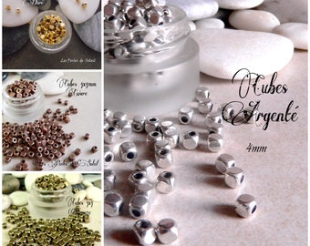 25 cubes are in metal gold silver bronze or copper 4 x 4mm
