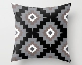 Southwestern pillow with insert  - black grey brown - Modern Aztec Throw pillow with insert - Home Decor - By Aldari Home
