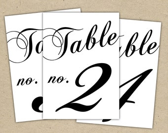 Black Table Numbers Printable Template Instant Download - (5x7) modern design DIY. Wedding reception (1-10)