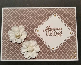 Example card for the holidays with two flowers Brown