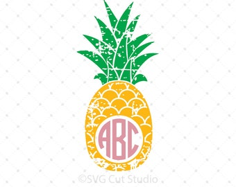 Distressed Pineapple Monogram frame svg Summer shirt svg Summer svg Tropical svg Distressed svg png dxf files for Cricut Silhouette cut file