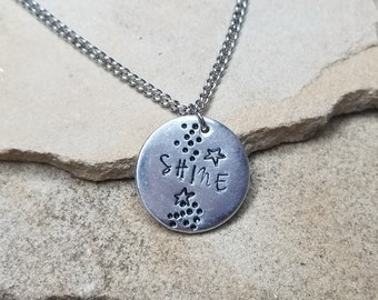Shine- Pewter Pebble Hand Stamped Necklace With Stars
