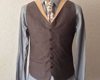 Brown Wool Waistcoat with collar Wedding Vest All Sizes Slim Fit Large Smart Brown Vest Tweed Donegal