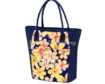 Monogrammed Beach Floral Cooler Bag