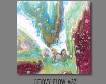 Groovy flux acrylique abstrait peinture #37 prêt à accrocher 8 x 8
