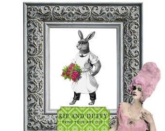 Printable Rabbit Art, Bunny Art, Kitchen Rabbit
