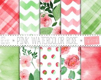 "Watercolor digital paper : "" Pink Watercolor Rose "" green and red digital paper with watercolor roses, chevron and polka dots, decoupage"