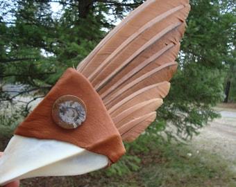 Feather smudge fan/ sage
