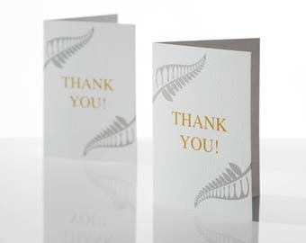 Thank You Cards, New Zealand Fern, New zealand fern thank you cards, Black inside thank you cards, wedding thank you cards, cards