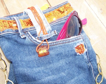 small orange and blue jean bag, satchel