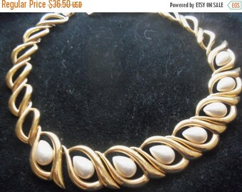 ON SALE Vintage Napier Necklace Faux Pearl & Goldtone Metal Hollywood Regency Mad Men Mod Collectible Designer Signed Jewelry