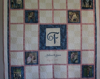 Wedding Guest Quilt With 12 Pictures, and Lots of Room for Guest's Warm Wishes