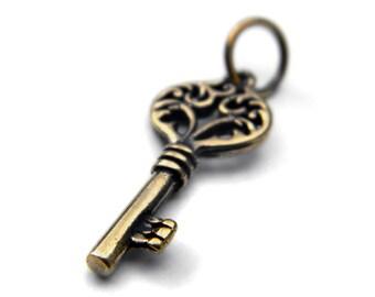 Key pendant (1) Bronze key pendant key necklace Key jewelry Gift for her Heart key Jewelry findings Cute pendant Small pendant Beach jewelry