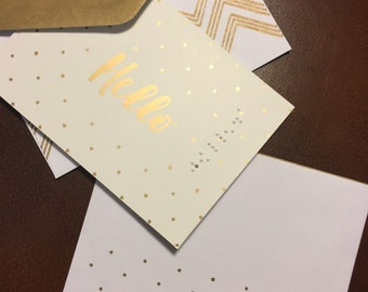Hello in Braille greeting card gold lettering whitw card stock glossy paper, blank inside