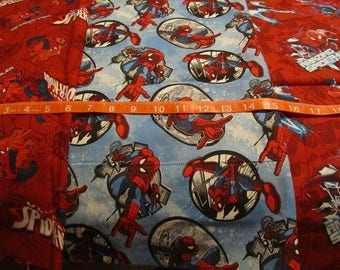 Three 16 x 24 Inch Spiderman Theme Cotton Fabric Remnants