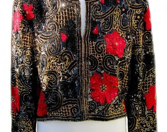 Formal Evening Jacket on Black Silk with Red Sequins and Gold Beading in Floral Designs by Laurence Kazar - Fits Size Medium