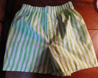90s Hunt Club neon green striped shorts, Medium