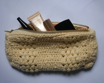 Pretty crochet, lined, handmade, pretty crochet pouch pocket, mother's day, Mothers' Day