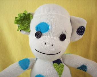 Sock monkey doll in white with blue polka dots, Fiona