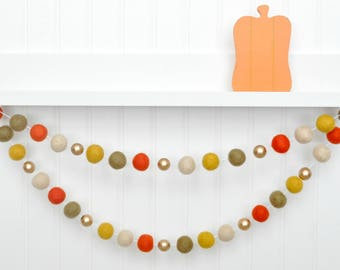 Fall Garland, Fall Decor, October Decor, Fall Banner, Thanksgiving Garland, Thanksgiving Banner, Orange and Mustard Felt Ball Garland, Pom