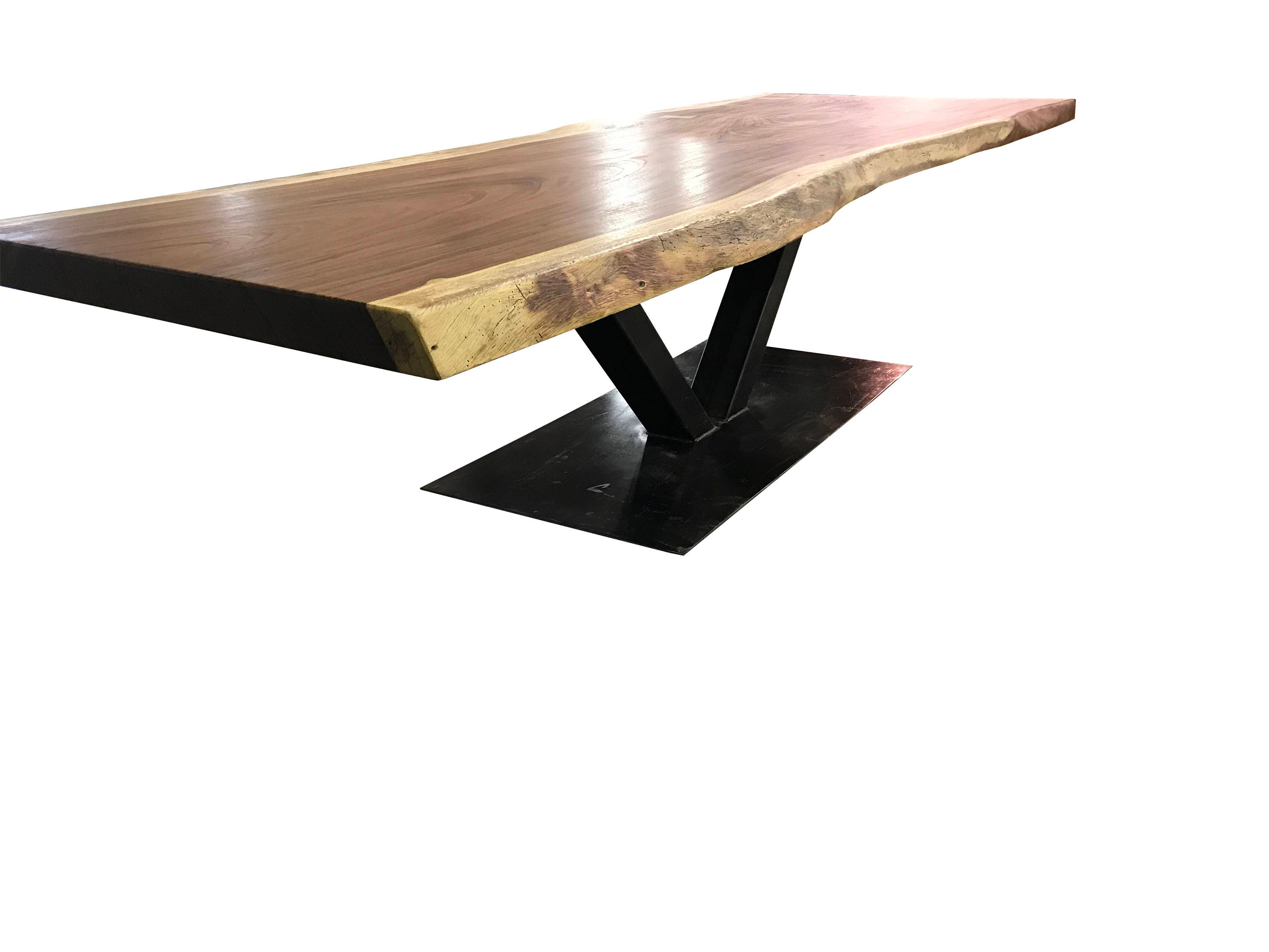Live edge dining table Live edge with a hand crafted custom Steel Base, unique dining table, custom slab table conference table