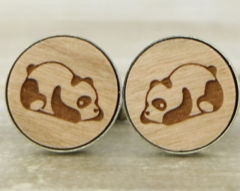 Panda Laser Cut Wood Cufflinks - Wedding Accessories - Wedding Cuff Links - Panda Cufflinks - Groom Present - Groomsmen