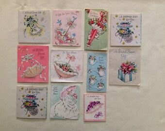 Set of 11 Vintage Shower Cards, 1950s Bridal Shower, Scrapbook Cards, Original Gift Cards, Bridal Shower Art