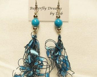 Totally Teal Beaded  Dangle Earrings - Ladder Trellis Ribbon Yarn