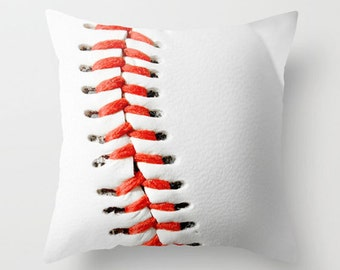 Baseball Pillow Cover-Sports Home Decor-Baseball-Red & White Toss Pillow-Outdoor Decor-Athletic Home Decor-Boys Room Toss Pillow-Sofa Pillow