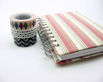 Striped Blank Notebook 4 x 6 Spiral Bound, Sketchbook, red, green, cream, prayer journal, spiral bound notebook, travel journal, dairy