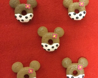 Set of 5 Light Pink Minnie Mouse Snack Resin