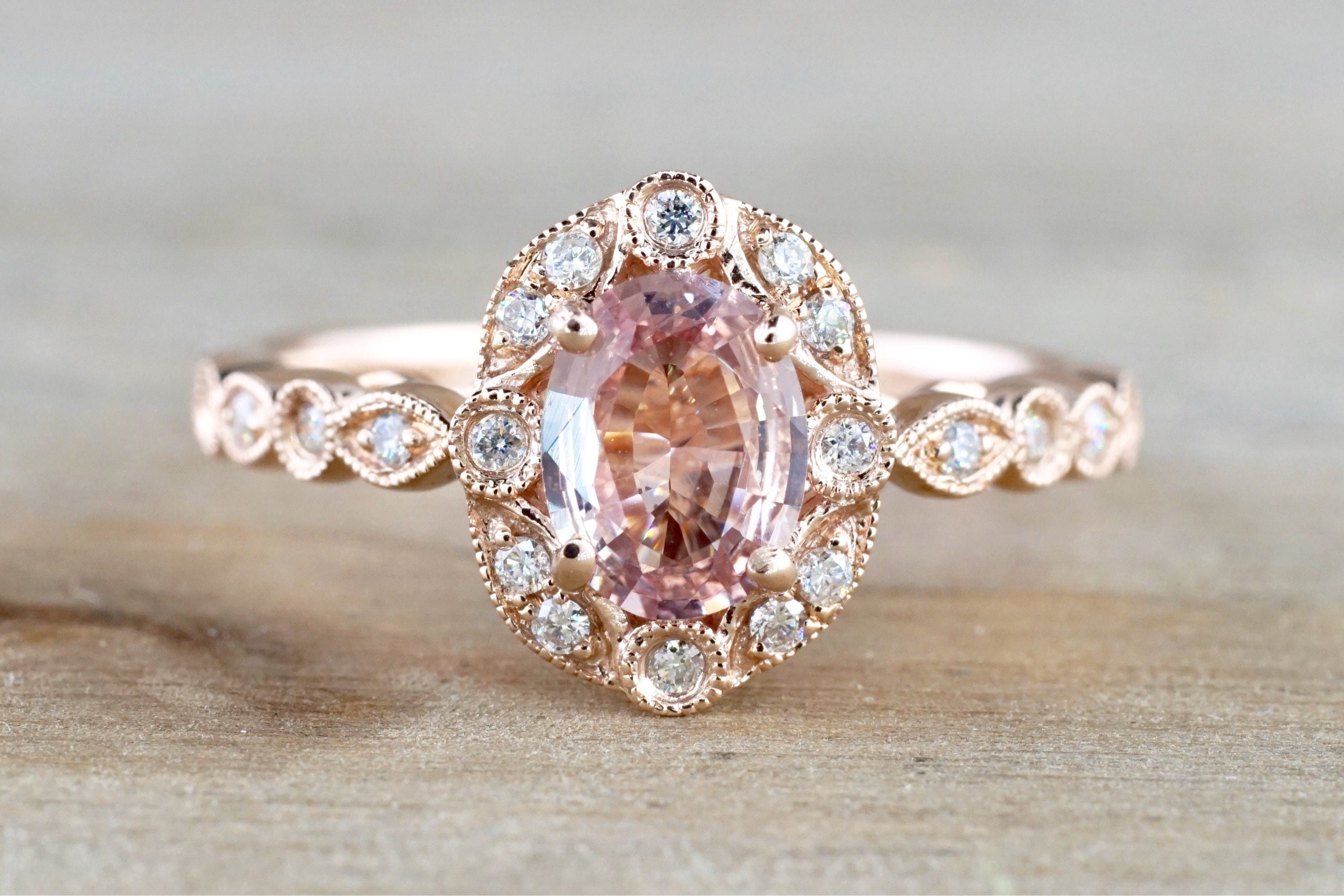 ring art unheated deco gold halo shaped vintage pear products org rose sapphire engagement diamond peach light